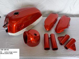 Honda CB125 K3 in NC candy orange custom NH24 ceramic white RH-Lacke Lackiererei Motorradlackierung