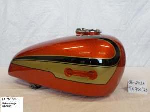 Yamaha TX750 '73 in flake orange RH-Lacke Lackiererei Motorradlackierung 06-2431