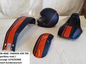 Yamaha XSR700 perlblaumatt / orange 1279/DOM8 nach Kundenwunsch RH-Lacke Lackiererei Motorradlackierung