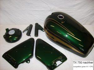 Yamaha TX750 in K1/CPG competition green RH-Lacke Lackiererei Motorradlackierung