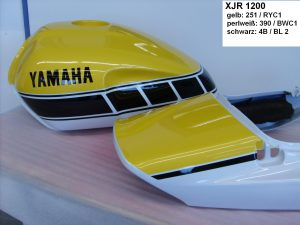 Yamaha XJR1200 in 251/RYC1 reddish yellow cocktail 1 390/BWC1 bluish white cocktail 1 4B/BL2 black 2 RH-Lacke Lackiererei Motorradlackierung