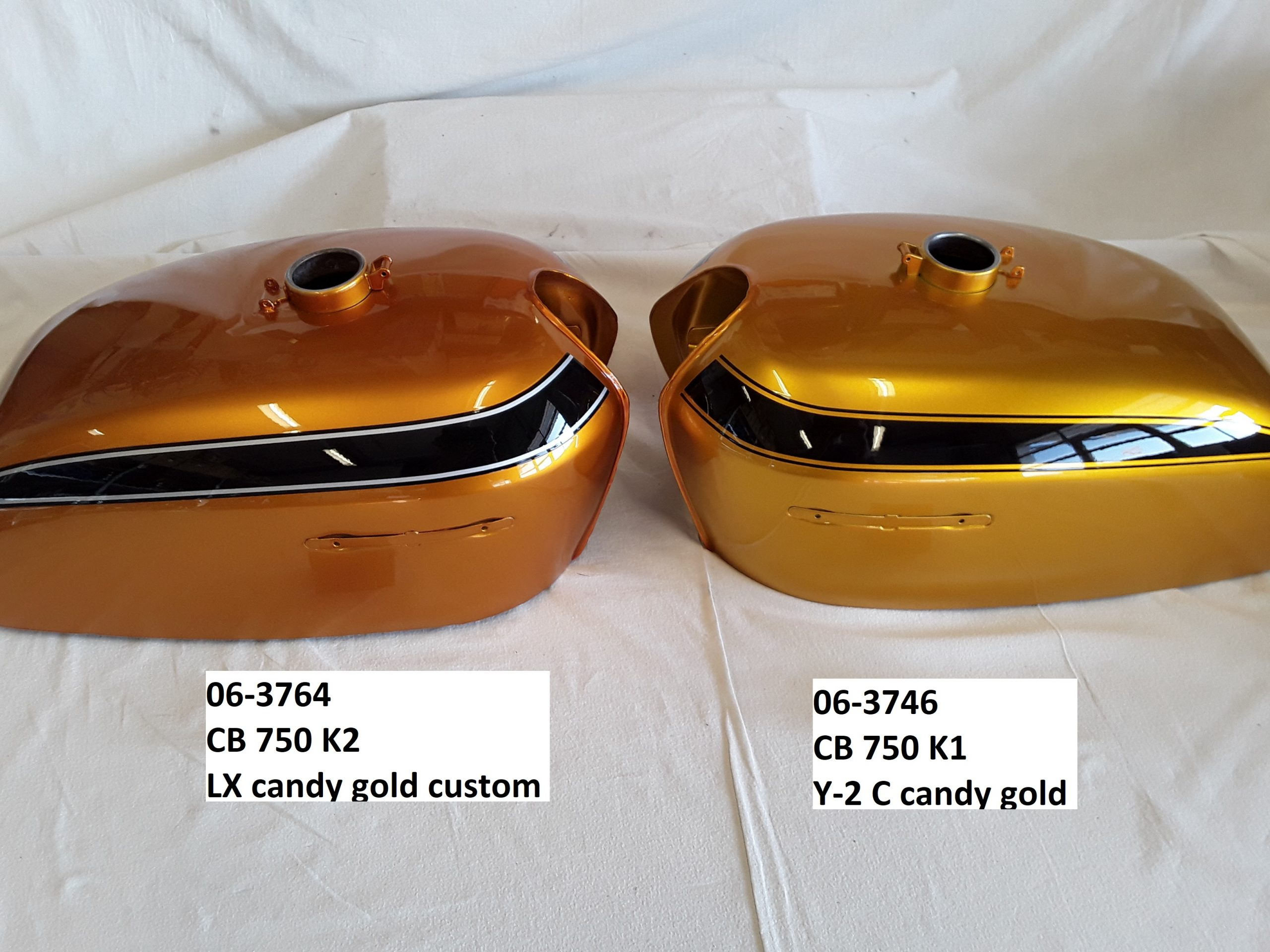 Honda CB750K2 in candy gold custom und CB750 K1 in candy gold RH-Lacke Lackiererei Motorradlackierung