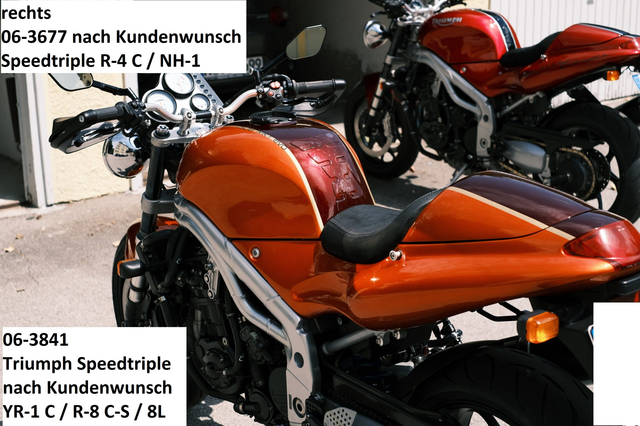 Triumph Speedtriple nach Kundenwunsch YR-1 C / R-8 C-S / 8L RH-Lacke Lackiererei Motorradlackierung 06-3841