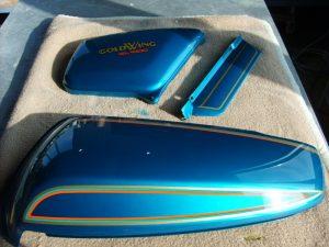 Honda PB-102 special candy grandeur blue RH-Lacke Lackiererei Motorradlackierung