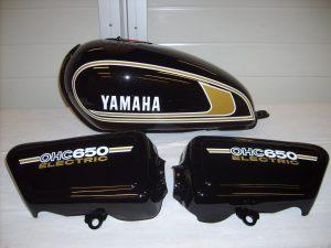 Yamaha XS650 Bj. 1978 in R7/SAB star black RH-Lacke Lackiererei Motorradlackierung