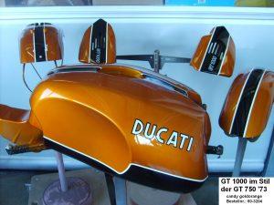 Ducati GT1000 in candy goldorange GT750 '73 RH-Lacke Lackiererei Motorradlackierung